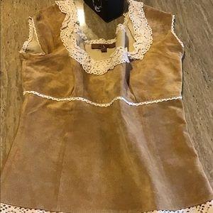 Arden B Camel Color Leather Shirt